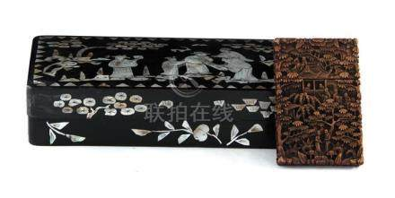 Chinese nacre-inlaid lacquer papier mache box and hardwood c
