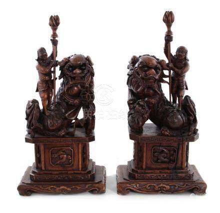 Pair Chinese carved hardwood Foo lions and figures (2pcs)