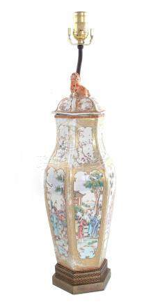 Chinese porcelain urn, converted to lamp