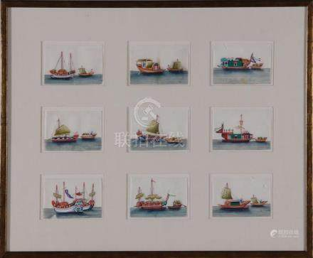 Chinese miniature watercolor painting on silk (4frms)
