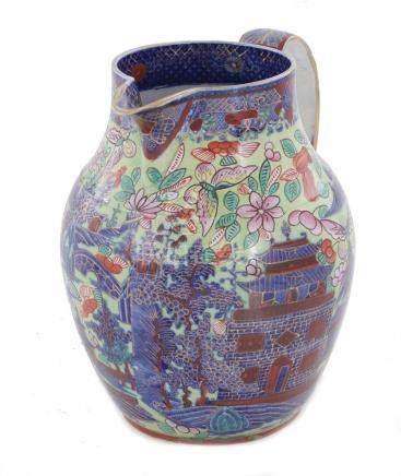 Chinese Export clobber ware porcelain pitcher