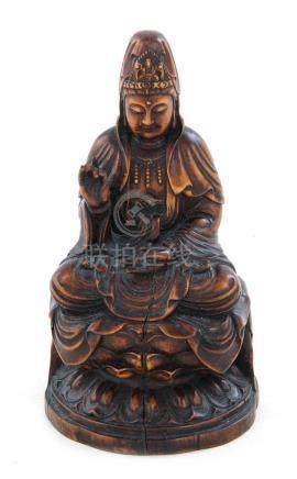 Chinese carved hardwood Guanyin