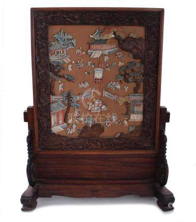 Chinese inlaid wood table screen