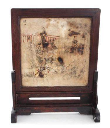 Chinese decorated stone table screen