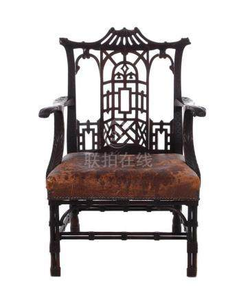 Rare Chinese Chippendale carved mahogany armchair