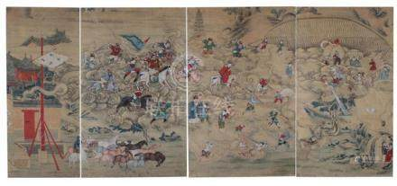 Chinese allegorical painted screen