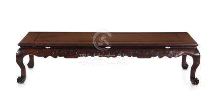Chinese carved hardwood and floating panel-top table
