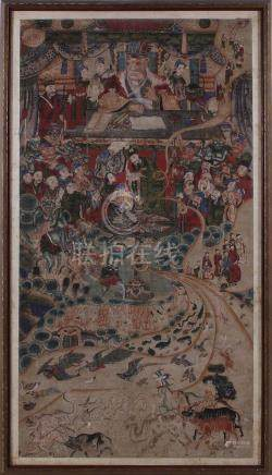 Chinese allegorical-painted panels