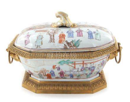 Chinese famille rose ormolu-mounted porcelain tureen and cov