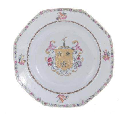 Chinese armorial porcelain plate, Sir Thomas Dyke of Lulling