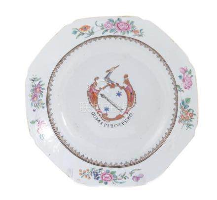 Chinese armorial porcelain soup plate, Scottish arms of Auch