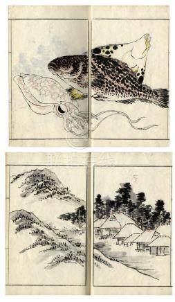 Kawamura Bumpo Stil, , Buchentwurf, Landschaften, Pflanzen,