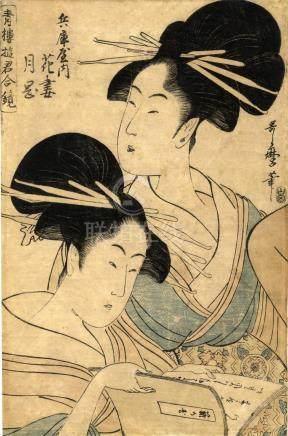 Utamaro, Kitagawa, 1754-1806, Bijinga Okubie (Oban, ca. 1800