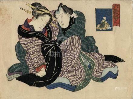 Eizan, Kikugawa, 1787-1867, Shunga Abunae (13 x 17 cm, ca. 1