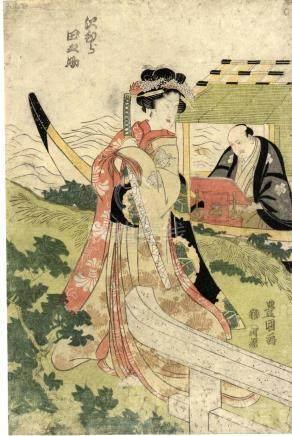 Japanese Print - Toyokuni, Utagawa, 1769-1825, Kabukie (Linkes oban von einem Diptychon, 1813)