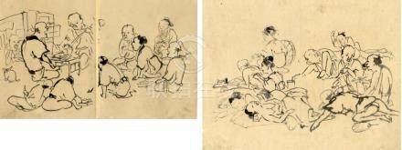 Shijo-Schule, Chinnen zugeschrieben, , Zwei Tuschezeichnunge