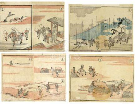 Hokusai, Katsushika, 1760-1849, Meishoe (Vier Doppelbuchseit