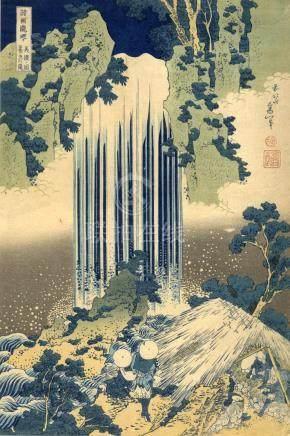 Hokusai, Katsushika, 1760-1849, Meishoe, Yoro Wasserfall (Ob