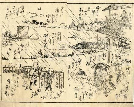 Eisen, Keisai, 1790-1848, In Manga-Stil (Zwei Doppelbuchseit