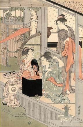 Kiyonaga, Torii, 1752-1815, Nachdruck (Oban von einem Tripty