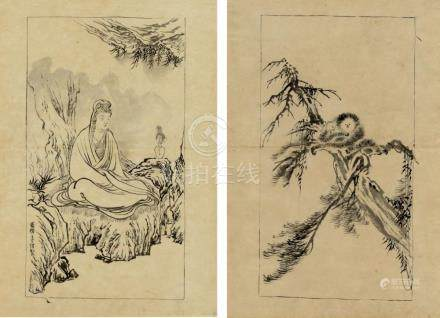 Hirose Toho, 1875-1930, Zwei Zeichnungen, Meiji