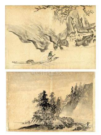 Hirose Toho, 1875-1930, Zwei Tuschezeichnungen in Kano-Stil,