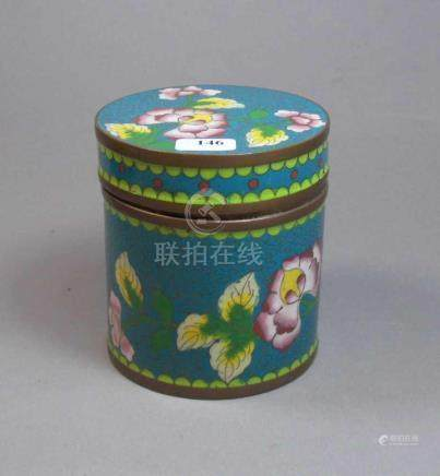 CLOISONNE - SCHATULLE / cloisonné-box, Emaille über Kupfer, China, 2. Hälfte 20. Jh.; zylindrische