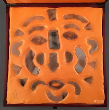 Set of Chinese Archaic Jade in Human Facial Feature