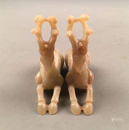 Pair Chinese Archaic Jade Deer Figure