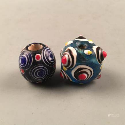 Pair Chinese Drgaon Fly Eye Beads
