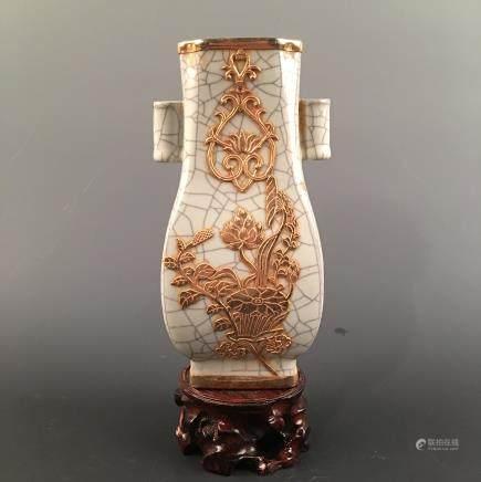 Chinese Ge Type Gilt 'Lotus' Square Bottle Vase