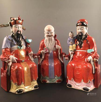 Chinese Famille Rose Three Gods of 'Fortune, Prosperity and Longevity' Statue