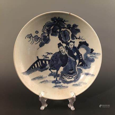 Chinese Blue-White Figure Plate