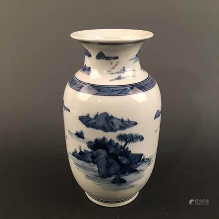 Chinese Blue-White 'Landscape' Vase, Kangxi Mark