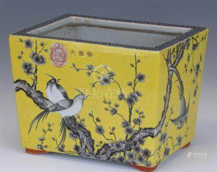 CHINESE PORCELAIN YELLOW GLAZE INK PAINTED BIRD AND FLOWER SQUARE PLANTER