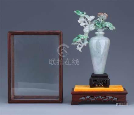 CHINESE NATURAL JADEITE CARVED FLOWER IN VASE