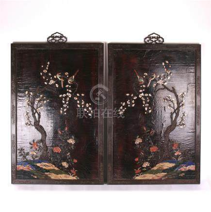 PAIR OF CHINESE GEM STONE INLAID BIRD AND FLOWER LACQUER WALL PLAQUES
