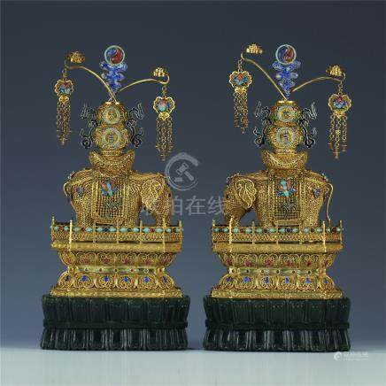 PAIR OF CHINESE GILT SILVER WEAVEN GEM STONE INLAID ELEPHANT ON BASE