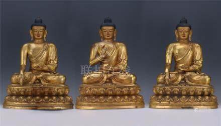 THREE CHINESE GILT BRONZE SEATED SAYKAMUNI