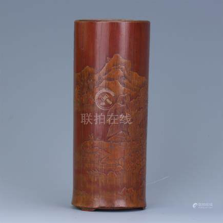 CHINESE BAMBOO CARVED MOUNTAIN VIEWS BRUSH POT