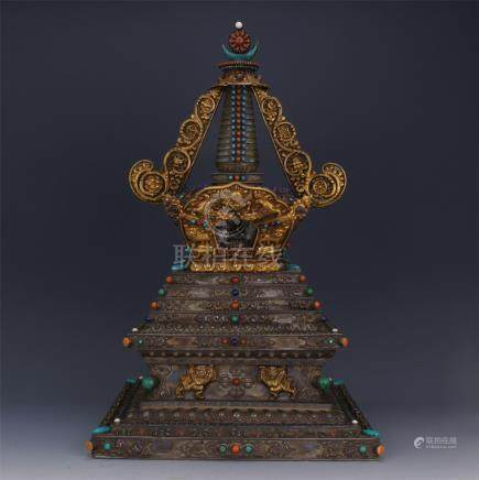 CHINESE GEM STONE INLAID PARTLY GILT SILVER BUDDHIST TOWER