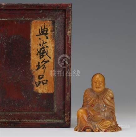 CHINESE SOAPSTONE SEATED LOHAN
