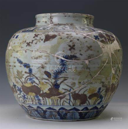 CHINESE PORCELAIN BLUE AND WHITE RED UNDER GLAZE FISH AND WEED JAR
