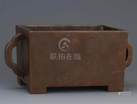 CHINESE BRONZE HANDLED SQUARE CENSER