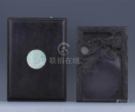 CHINESE DUAN STONE INKSTONE IN ROSEWOOD CASE