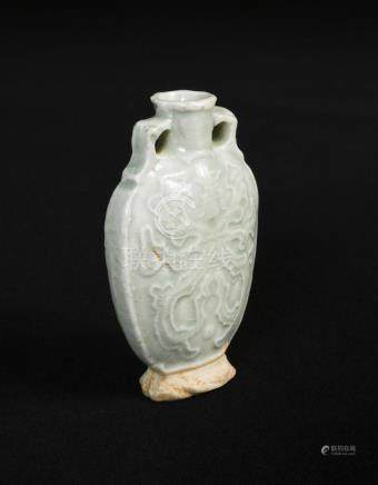 A small late Yuan dynasty celadon bottle flask, moulded on both sides with a stylised medallion