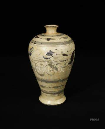 A Cizhou painted Meiping vase, Yuan dynasty, decorated with stylised leafy floral sprays between