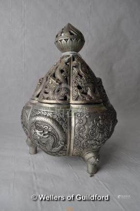 A Chinese white metal censor and cover with pierced dragon decoration, 18cm.
