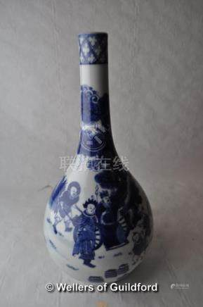 A Chinese blue and white vase decorated with figures in a landscape, six character mark to base,