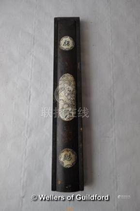 A Chinese wooden chopstick case with bone inlay, 27cm.